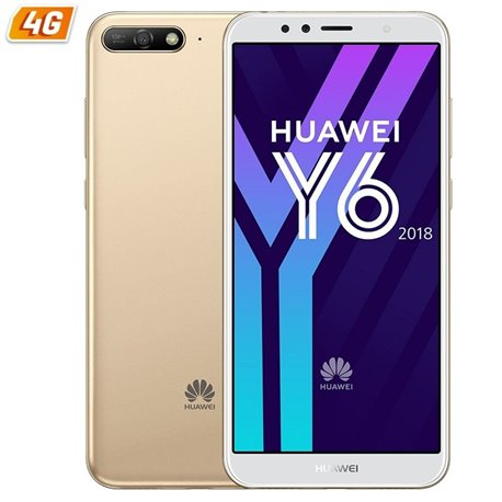 "Smartphone móvil huawei y6 2018 ds gold 5.7"" 18:9, 13/5mp, quac core a53 1.4ghz,16gb, 2gb ram, android8.0, 4g, dual 130.39€"